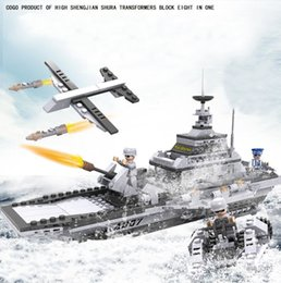 Wholesale Military Aircraft Toys - Puzzle toys cogo assembled to fight the building blocks of military aircraft carrier 13007 compatible music small particles