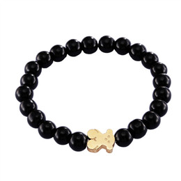 Wholesale Rose Agate Beads - Stainless steel good quality black agate beads bracelet gold silver rose gold jewelry bears for girl & lady