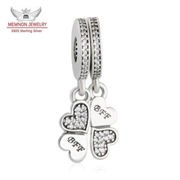 Wholesale Silver Clover Bead Charms - Memnon Jewelry 925 Sterling Silver Lucky Clover BFF Best Friends Forever Pendant Charm Beads For Jewelry Making Fit Bracelet DIY DA180