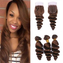 Wholesale Wholesales Chocolate Hair - Virgin Peruvian Medium Brown Hair Bundle With Lace Closure Chocolate Brown #4 Color Loose Wave Human Hair Weaves With Free Part Top Closure