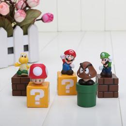 Wholesale Mario Luigi Dolls - 5pcs set Super Mario Bros Mario Luigi mushroom Goomba Toad Yoshi PVC Action Figures Toy Dolls