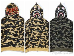 Wholesale Men Zipper Hoodies Fleece - Wholesale Men's Camouflage Hip Hop Shark Hoodie Men Women Shark Head Embroidery Hoodie Plus Velvet Hip Hop Streetwear Coat