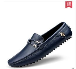 Wholesale comfy shoe brands - High Quality Genuine Leather Men Shoes Soft Moccasins Loafers Fashion Brand Men Flats Comfy Driving Shoes