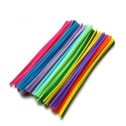 Wholesale Diy Green Cleaning - Wholesale-New 100PCS Multicolor Mixed Plush Iron Wire Flexible Flocking Craft Sticks Pipe Cleaner Creativity Developing Kids DIY Toys