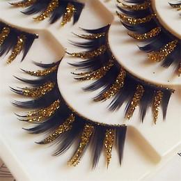 Wholesale Glitter Eyelash - Pack Metalic glitter punk make up fake false eyelashes Free shipping
