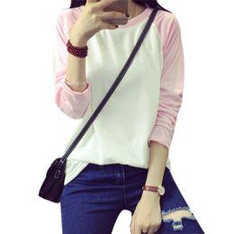 Wholesale Korean Tee Shirts Wholesale - Wholesale-Women T-shirt 2016 Spring Fall Korean Style Long Sleeve Raglan Patchwork Loose Moleton Female Tee Tops Blusas Feminina Plus Size