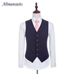 Wholesale Waistcoat For Men Styles - Wholesale- New Wool Retro Gentleman Style Custom Made Men's Vest Tailor Wedding Waistcoat In Navy Blue For Men (Vest)