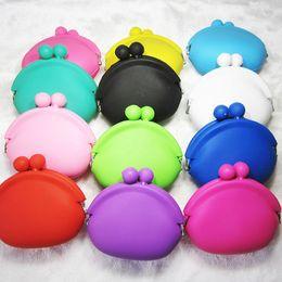 Wholesale Mini Silicone Purses - 20pcs lot candy color mini coin bag cute coin purse silicone money bag puse coin wallet 9.5*9cm