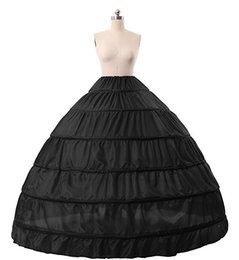Wholesale Gowns Colors Orange - Black Full Ball Gown 6 Hoop Slip Crinoline Petticoat Floor Length Plus Size Bridal Dress Gown Wedding Accessories Nine Colors Cheap
