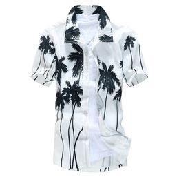 Wholesale Wholesale Hawaiian Shirts - Wholesale- Summer Fashion Men Shirts Turn-down Collar Short Sleeve Hawaiian Quick-drying Printed Beach Palm Casual Dress Shirt Y1101