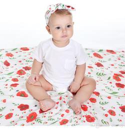 Wholesale bird wrap - Newborn Baby Swaddling Blankets + Bunny Ear Headbands Set Baby Floral Swaddle 100% Cotton Towel Wrap Hairbands Bird FlowerlPrint BHB21