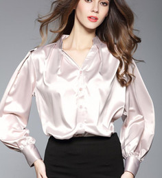 Wholesale Silk Fabric Shirts - 2017 Women's Color Beige Stand V Neck Puff Sleeve Shirt Fashion Professional Women Blouses Soft Silk Fabric