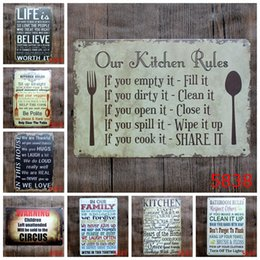 Wholesale Coffee Decorations - new 20*30cm Our kitchen Family bathroom rules poster Tin Sign Coffee Shop Bar Restaurant Wall Art decoration Bar Metal Paintings Tin Sign