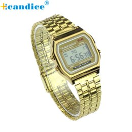 Wholesale Womens Plastic Watches - Wholesale- Top Quality Hot Sale Vintage Womens Men Stainless Steel Square LED Digital Alarm Stopwatch Wrist Watch relogio masculino