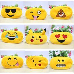 Wholesale Cartoon Cosmetic Case - Pencil Case Pencil Bags Emoji Plush Zipper Cosmetic Bag Cartoon Styles Pouch Writing Supplies Office School Stationery bag