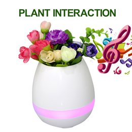 Wholesale Wholesale Piano Music Box - TOKQ Bluetooth Smart Touch Flowerpot Plant Piano Music Playing Wireless Plantpot Without Plant With Retail Box