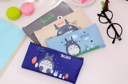 Wholesale Totoro Canvas - Wholesale-New cute cartoon totoro series Canvas pencil Bag   pen case   Pouch   Wholesale