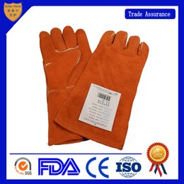 Wholesale Wholesale Leather Welding Gloves - Electric welding gloves heat resisting gloves leather protective gloves