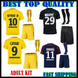 Wholesale Cotton Short Socks - 2017 2018 MBAPPE soccer jersey adult kit+socks survetement verratti neymar jr cavani HOME AWAY maillot de foot 17 18 MEN FOOTBALL SHIRTS