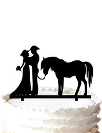 Wholesale Groom Bride For Cake - Unique wedding cake topper Silhouette Cake Topper Cowboy Bride and Groom Wedding Cake Topper with Horse ,37 color for option Free Shipping