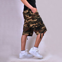 Wholesale Cargo Overalls Men - Wholesale-Size 30-44 Cotton Plus Size Shorts Zip Overalls Loose Casual Middle Length Camouflage Cargo Shorts Camo Man