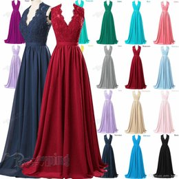 Wholesale Deep Purple Bridesmaids Dresses - Long Chiffon Lace V-Neck Bridesmaid Formal Gown Ball Party Evening Prom Dress