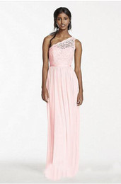 Wholesale Black Chiffon Top Long Sleeve - 2017 African One Shoulder Chiffon Long Bridesmaid Dresses Pink Hot Lace Top Junoir Maid Of The Honor Party Gowns Cheaper