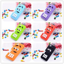 Wholesale Mm Bean Case - Rainbow Bean Chocolate Silicone Case 3D Cute M&M MM Back Cover for iPhone 5 5S 5C Cartoon Cell Phone Cases