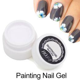 Wholesale Blue Acrylic Paint - Wholesale- 1pcs Painting UV Gel Polish 3D Nail Art Paint Color Gel Draw Painted 12 Acrylic Color UV Gel Tip DIY Semi Permanent
