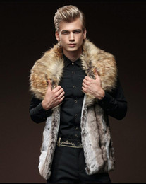 Wholesale Luxury Men Winter Jacket - 2017 new fur coats Fall-Luxury Mens Leather Jacket Men Fur Coat Big Turn-down Collar Winter jacket Sleeveless waistcoat free shipping