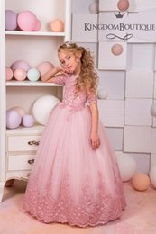 4b15e5be6 2018 NEW Blush Pink Lace Tulle Flower Girl Dress Wedding party Holiday  Bridesmaid Birthday Blush Pink Flower Girl Tulle Lace Dress
