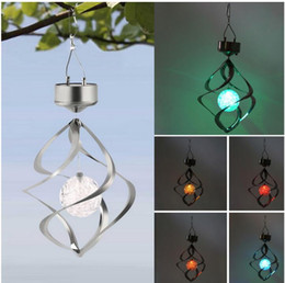 Wholesale Lamp Solar Wind Street - Solar Powered Color Changing Wind Spinner LED Light Hang Spiral Garden Lawn Lamp Yard Decorate Lamp