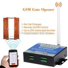 2019 portão de gsm remoto Venda por atacado - Automático GSM Gate Switch Door Opener com controle remoto SMS relé único relé portão de gsm remoto barato