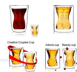 Wholesale Muscle Glass - Creative, sexy Muscle shaped beer glass Naked woman Whisky glass Heat-resisting cup 160ml and 180ml