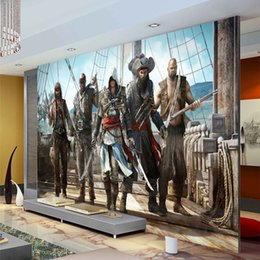 Wholesale Video Designers - Assassion's Creed Wallpaper Video Game Wall Mural 3D Photo Wallpaper Designer Room decor Boys Bedroom Hallway TV background wall
