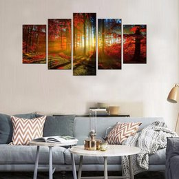 Wholesale Canvas Paint Autumn - 5 Picture Beautiful Autumn Maple Canvas Paintings Landscape Wall Art Paintings Artwork with Wooden Framed for Home Decor Ready to Hang