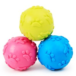 Wholesale balls for pets - Dog Grinding Teeth Toys Non Toxic Colorful Footprint Round Ball Pet Toy For Sound Training Chewing Supplies 2 08sj C R