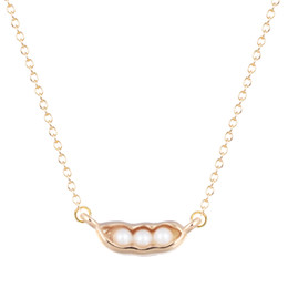 Wholesale 18k Gold Best Friends Pendant - 10pcs lot Gold Silver Women Food Pea Pod with Pearl Pendant Statement Jewelry Collier Femme My Orders Best Friend Gift