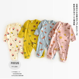 Wholesale INS new arrivals fall baby kids climbing romper long sleeve fruit print style round collar girl boy kids romper kid spring fall rompers T