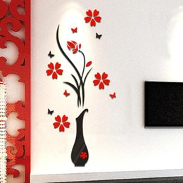 decoracion de decoracion Rebajas Venta al por mayor- Happy regalos sala de estar Dormitorio Inicio Decorar DIY florero Árbol de flores Arcylic 3D pared pegatinas Decal Decoración para el hogar