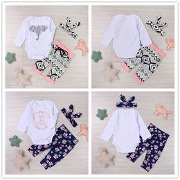 Wholesale Girls Elephant Romper - 2017 New Trendy Baby Clothes Suit Lovely Letters Elephant Romper Retro Flower Long Pants Hairband 3pcs Geometirc Butterfly Kids Mikrdoo Sets