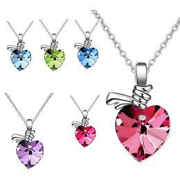 bijoux strass en inde Promotion Cristal autrichien en strass 7 Colliers en forme de coeur à coeur de coeur Pendentifs pour femmes Cadeaux 2017 Inde Bijoux 162306