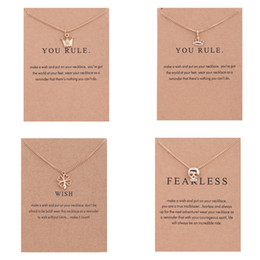 Wholesale 14k Crown Pendant - Luxury Brand Dogeared women Necklaces With card Gold Prince&Princess Crown Four Leaf Clover Skeleton Pendant Necklace For Fashion Jewelry