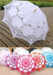 Wholesale Long Handled Lace Parasols - 100% Cotton Bridal Parasol Handmade Battenburg Lace Embroidery Sun Umbrella Elegant Wedding Wedding Umbrella High Quality