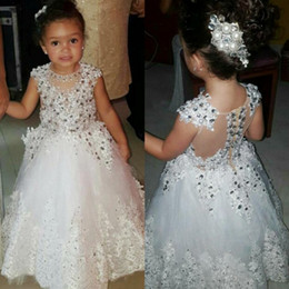 Wholesale Bling White Girl Dresses - Bling Shinning Beaded Flower Girl Dresses For Wedding White Lace Appliques Cap Sleeves Princess Baby Birthday Party Girls Pageant Gowns
