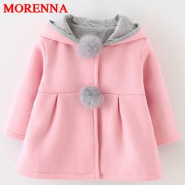 Wholesale Infant Winter Coats Girls - MORENNA Autumn Winter Baby Outwear Infants Girls Cute Rabbit Hooded Princess Jacket Coats Ball Christmas Gifts New Year Clothes