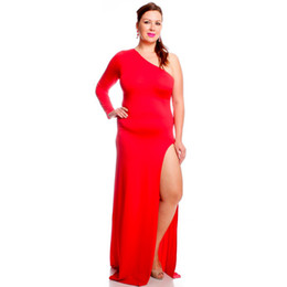 Wholesale Oblique Zipper Dress - Women's Dresses Irregular Oblique Shoulder Design Red Hollow Skirt Open Fork Long sleeves Sexy Women Tight-fitting Big Size Dress Red