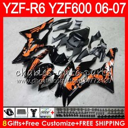 8Gifts 23Color carrozzeria per YAMAHA YZF600 YZFR6 06 07 YZF-R600 59HM8 YZF R 6 06-07 YZF 600 YZF-R6 YZF R6 2006 2007 Carenatura Graffiti arancione cheap yamaha r6 orange da arancio yamaha r6 fornitori