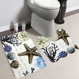 Wholesale fishing bathroom - Wholesale- 2pcs Non-slip Toilet Bath Mats Plants Shells Star Fish Type Door Mat Bathroom Floor Carpet Mat Kit Mattress For Bathroom Decor