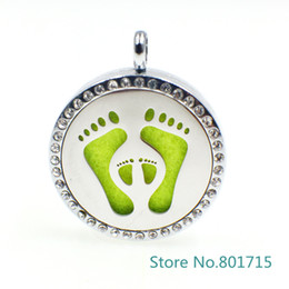 "Wholesale Tin Perfume - XX039 ""Foot print"" Magnet Aromatherapy Essential Oil Stainless Steel Perfume Diffuser Locket Necklace with chain&pads Jewelry"